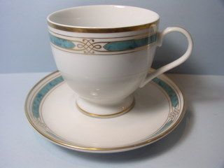 Make sure your browser can show photos and reload this page to see Gorham China Regalia Court - Teal Cup and saucer set