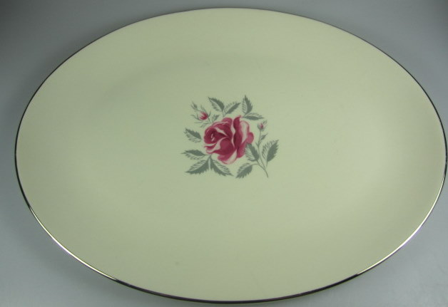 Make sure your browser can show photos and reload this page to see Flintridge China Delrose - Platinum Trim, Rim Platter, medium preowned 14