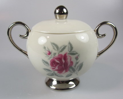 Make sure your browser can show photos and reload this page to see Flintridge China Delrose - Platinum Trim, Rim Sugar bowl with lid
