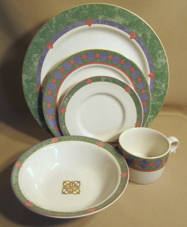 Make sure your browser can show photos and reload this page to see Pfaltzgraff China Amalfi Mediterranen Place setting 5-piece