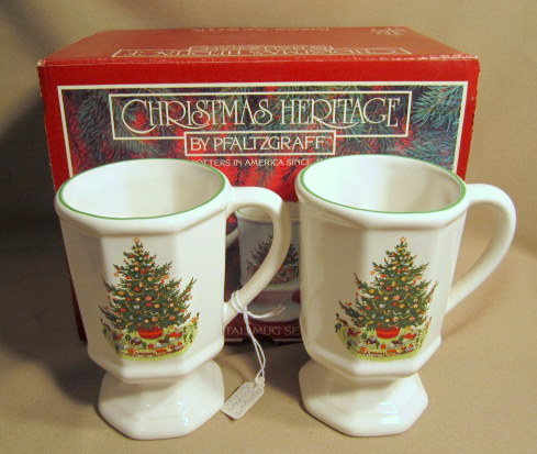 Make sure your browser can show photos and reload this page to see Pfaltzgraff China Christmas Heritage Mug Pedistal Mug (set of 4) New in box