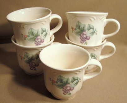 Make sure your browser can show photos and reload this page to see Pfaltzgraff China Grapevine Cup only (no saucer) (lot of 5)