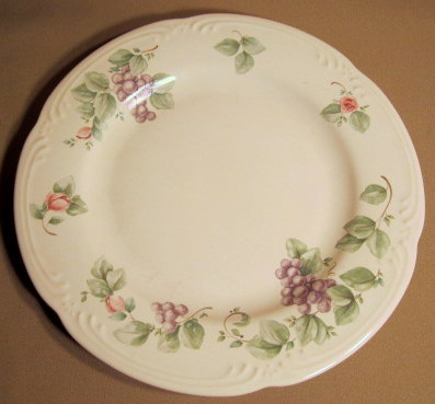 Make sure your browser can show photos and reload this page to see Pfaltzgraff China Grapevine Dinner plate has tiny nick