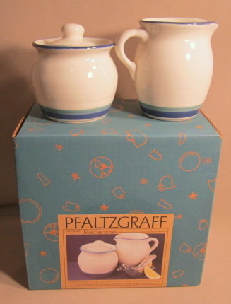 Make sure your browser can show photos and reload this page to see Pfaltzgraff China Northwinds Sugar bowl with lid & Creamer Set new in box