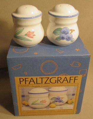 Make sure your browser can show photos and reload this page to see Pfaltzgraff China Summer Garden Salt and Pepper set new in box