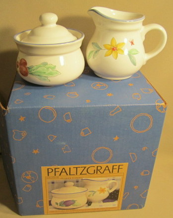 Make sure your browser can show photos and reload this page to see Pfaltzgraff China Summer Garden Sugar bowl with lid & Creamer Set new in box