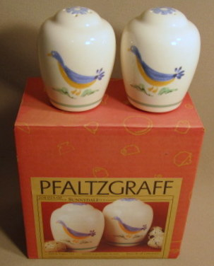 Make sure your browser can show photos and reload this page to see Pfaltzgraff China Sunnydale Salt and Pepper set new in box