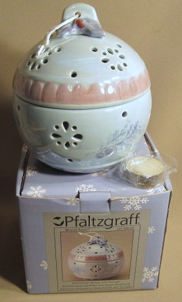 Make sure your browser can show photos and reload this page to see Pfaltzgraff China Winter Frost Candlestick  (Ball Pierced Lighting w/Tealight) new in box