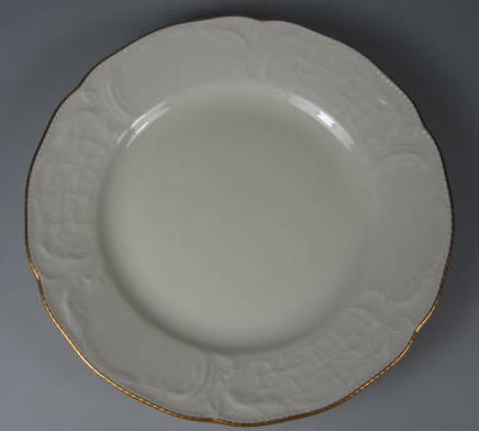 Make sure your browser can show photos and reload this page to see Rosenthal - Continental China Gold Band - Sansoucci Ivory Desert plate  6 3/4
