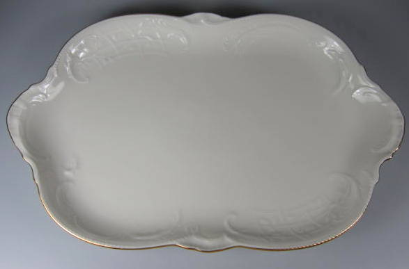 Make sure your browser can show photos and reload this page to see Rosenthal - Continental China Gold Band - Sansoucci Ivory Platter, medium  13 1/4