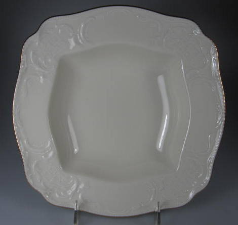 Make sure your browser can show photos and reload this page to see Rosenthal - Continental China Gold Band - Sansoucci Ivory Round vegetable  /SQUARE VEGETABLE BOWL 9 1/2