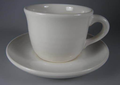 Make sure your browser can show photos and reload this page to see Pfaltzgraff China Simply White Circles Cup and saucer set  flat botton 2 3/4