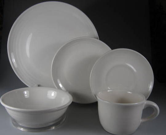 Make sure your browser can show photos and reload this page to see Pfaltzgraff China Simply White Circles Place setting 5-piece  (gently used) dinner, salad, cereal, cup & saucer