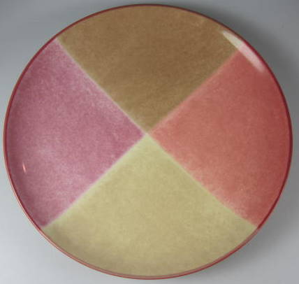 Make sure your browser can show photos and reload this page to see Noritake China Colorwave Raspberry 8045 Accent plate colorblock 8 3/8