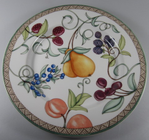Make sure your browser can show photos and reload this page to see Dansk China Umbrian Fruits Salad plate 9