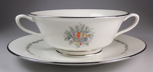 Make sure your browser can show photos and reload this page to see Oxford (Div Of Lenox) China Carlyle Cream soup bowl and stand
