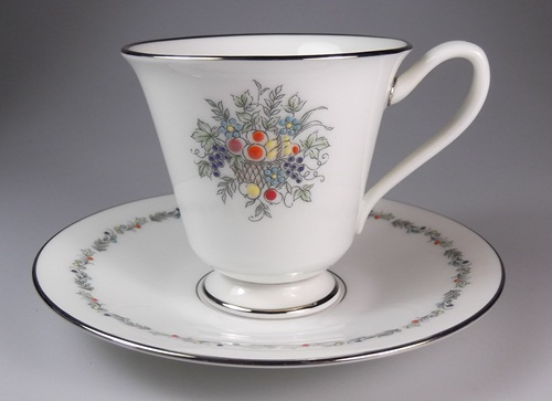 Make sure your browser can show photos and reload this page to see Oxford (Div Of Lenox) China Carlyle Demitasse cup and saucer