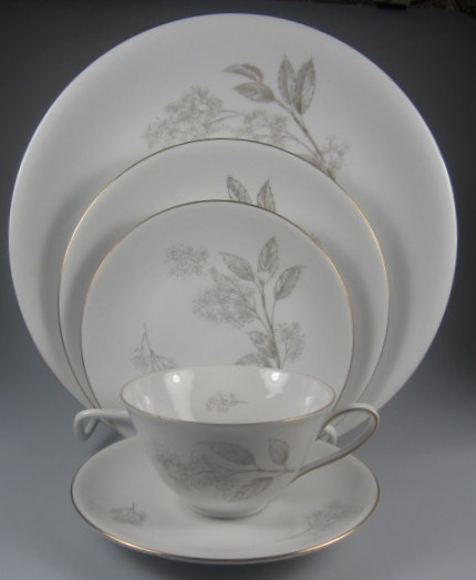 Make sure your browser can show photos and reload this page to see Hutschenreuther China #2382 Place setting 5-piece  Gold Trim,  Gently used, 10 3/8