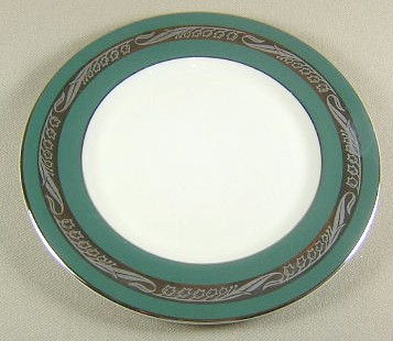 Make sure your browser can show photos and reload this page to see Flintridge China Bridal Wreath - Teal Green, Platinum Trim, Rim Bread and butter plate 6 1/4