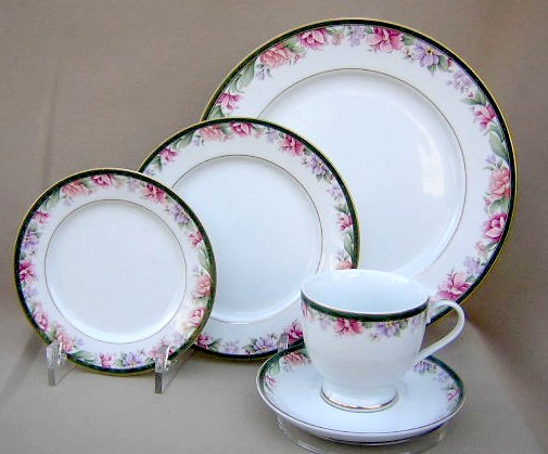 Make sure your browser can show photos and reload this page to see Gorham China Camellia - Newer - Pink, Purple Place setting 5-piece  dinner, salad, bread, cup & saucer