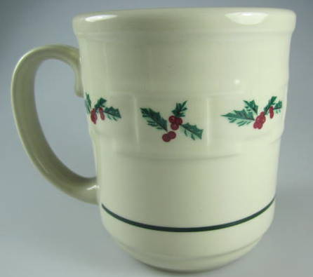Make sure your browser can show photos and reload this page to see Longaberger Pottery Holly Mug 4 1/8