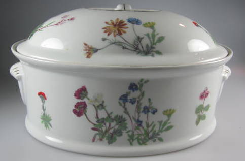 Make sure your browser can show photos and reload this page to see Louis Lourioux China Wild Flower Covered veg, (oval) large/ 3 quart