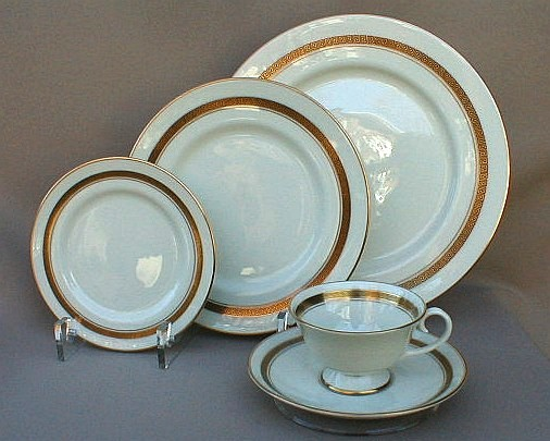 Make sure your browser can show photos and reload this page to see Flintridge China Grecian Key - No Color Band, Gold Trim, Rim Place setting 5-piece  Includes: dinner, salad, bread & butter & cup & saucer.