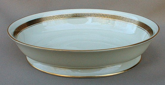 Make sure your browser can show photos and reload this page to see Flintridge China Grecian Key - No Color Band, Gold Trim, Rim Oval vegetable 9 3/4