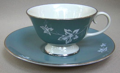 Make sure your browser can show photos and reload this page to see Flintridge China Misty Leaf - Strata Blue, Platinum Trim, Rim Cup and saucer set 3 3/4
