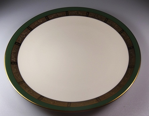 Make sure your browser can show photos and reload this page to see Flintridge China Georgian Rose - Spanish Green Band, Gold Trim, Rim Dinner plate 10 3/4