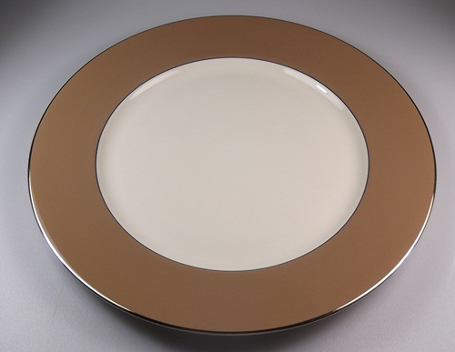 Make sure your browser can show photos and reload this page to see Flintridge China Platinum Cocoa - Cocoa Band, Platinum Trim, Coupe Dinner plate 10 5/8