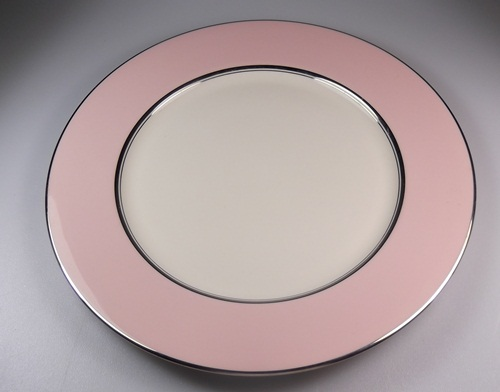 Make sure your browser can show photos and reload this page to see Flintridge China Platinum Petal Pin - Rim Dinner plate 10 5/8