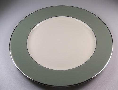 Make sure your browser can show photos and reload this page to see Flintridge China Platinum Sage - Rim Dinner plate 10 5/8