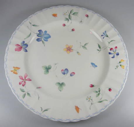 Make sure your browser can show photos and reload this page to see Mikasa China Sorrento CAJ09 Chop/round platter (very gently used) 12 1/8