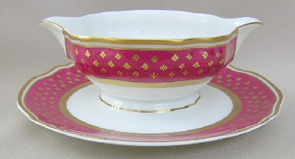 Make sure your browser can show photos and reload this page to see Ceralene Limoges Malmaison-Ruby, Gold Flwrs on Ruby Rim, Scalloped Gravy-attached stand
