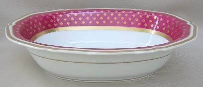 Make sure your browser can show photos and reload this page to see Ceralene Limoges Malmaison-Ruby, Gold Flwrs on Ruby Rim, Scalloped Oval vegetable  10