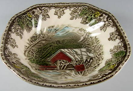Make sure your browser can show photos and reload this page to see Johnson Brothers Dinnerware  Friendly Village,The Cereal bowl, square  6