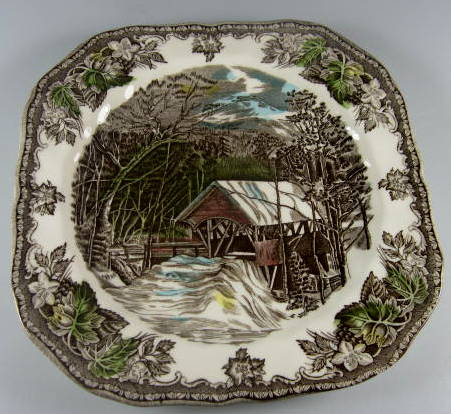 Make sure your browser can show photos and reload this page to see Johnson Brothers Dinnerware  Friendly Village,The Salad plate, square flaw on back 7 5/8