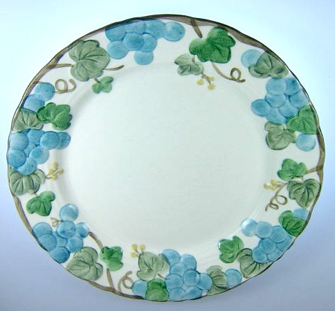 Make sure your browser can show photos and reload this page to see Metlox-Poppytrail-Vernon Pottery Sculptured Grape - Matte Salad plate 7 1/2