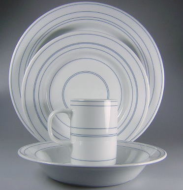 Make sure your browser can show photos and reload this page to see Dansk China Altissimo Place setting 4-piece dinner, salad, rim soup, mug