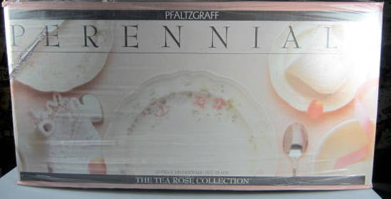 Make sure your browser can show photos and reload this page to see Pfaltzgraff China Tea Rose 20 piece starter set  New in box 4 dinners, 4 salads, 4 cereal, 4 cup & saucer sets