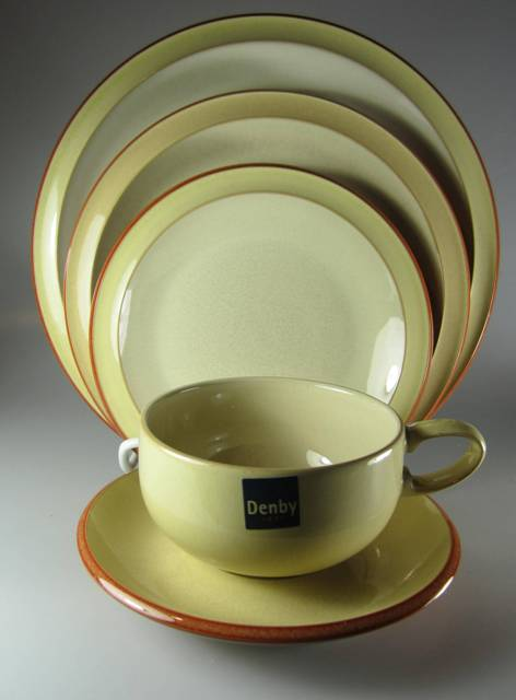 Make sure your browser can show photos and reload this page to see Denby - Langley China Fire Yellow Place setting 5-piece   dinner, salad, bread & butter, cup & saucer