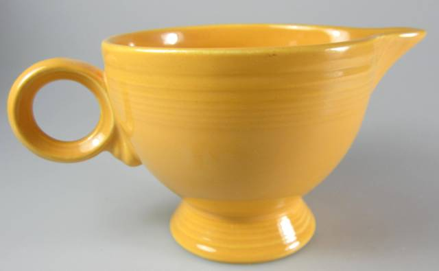 Make sure your browser can show photos and reload this page to see Homer Laughlin Co. Dinnerware Fiesta - Yellow (Older) Creamer  ring handle 3