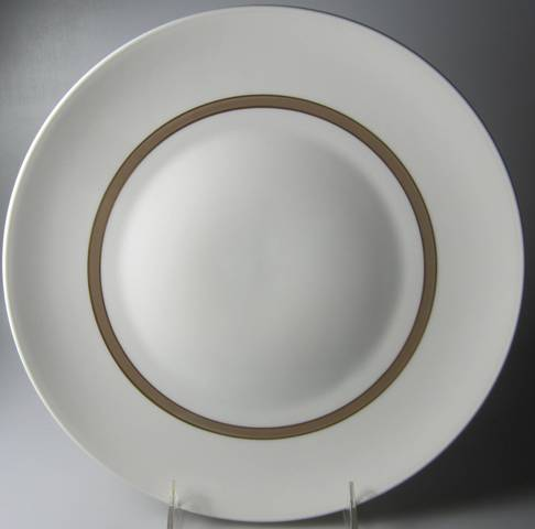 Make sure your browser can show photos and reload this page to see Rosenthal - Continental China Taupe Band Dinner plate  10 3/8