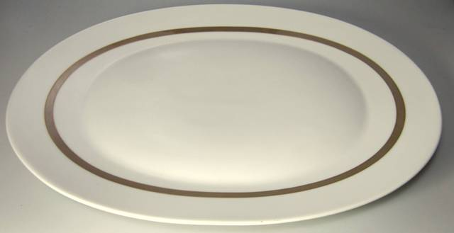 Make sure your browser can show photos and reload this page to see Rosenthal - Continental China Taupe Band Platter, large  15 3/4