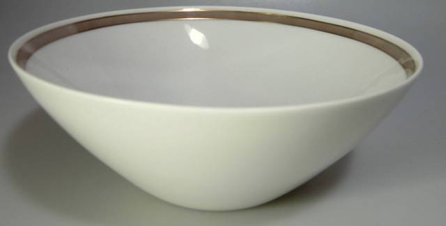 Make sure your browser can show photos and reload this page to see Rosenthal - Continental China Taupe Band Round veg, small  7 1/2