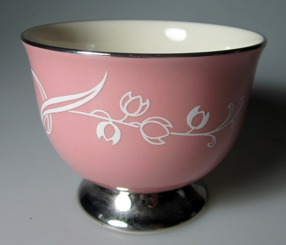 Make sure your browser can show photos and reload this page to see Flintridge China Snow Tulip - Pink Band, Platinum Trim, Rim Egg cup 2 1/2