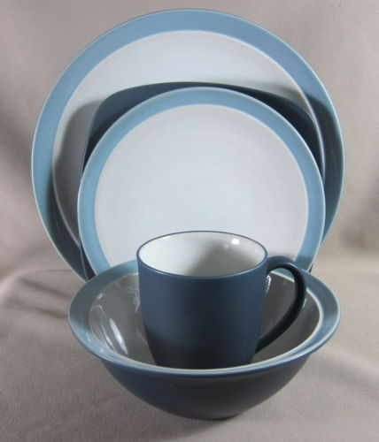 Make sure your browser can show photos and reload this page to see Noritake China Kona Indigo 8050 Place setting 5-piece
