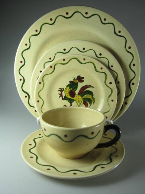Make sure your browser can show photos and reload this page to see Metlox-Poppytrail-Vernon Pottery California Provincial Place setting 5-piece  -dinner, salad, bread, cup & saucer