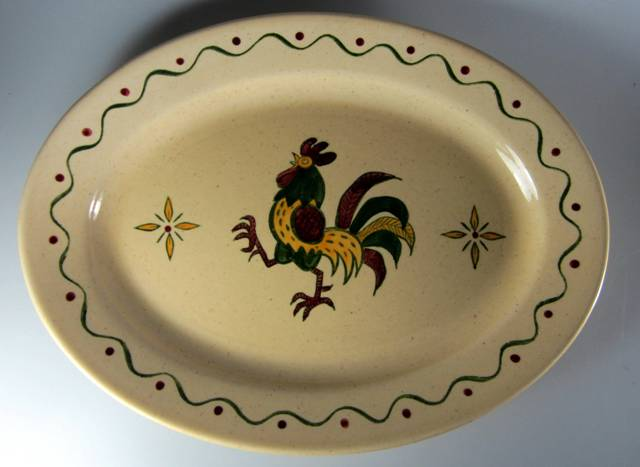 Make sure your browser can show photos and reload this page to see Metlox-Poppytrail-Vernon Pottery California Provincial Platter, medium   13 3/4